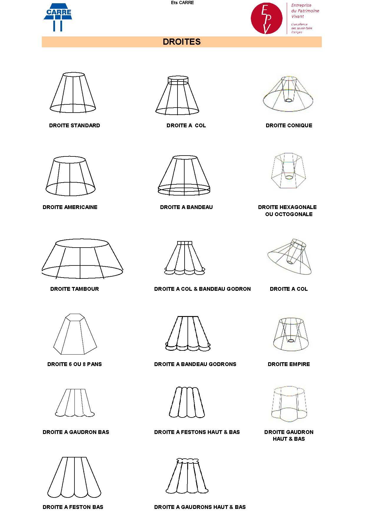 catalogue des formes classiques carcasse abat jour chez carcasse abatjour. Black Bedroom Furniture Sets. Home Design Ideas