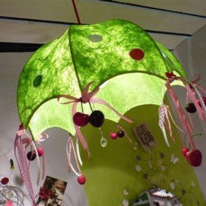 Carcasse abat-jour Dômes Parapluie LES QUATRE Z'AILES recouvert de tissus